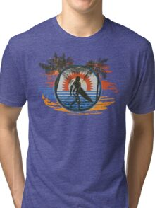 Surfing - Summer Sun and Palm Trees and Paint Brushes Tri-blend T-Shirt