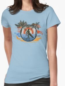 Surfing - Summer Sun and Palm Trees and Paint Brushes Womens Fitted T-Shirt