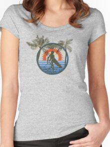 Life by the Beach - Surfing - Summer Sun and Palm Trees Women's Fitted Scoop T-Shirt