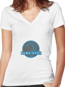 Blue Eyes  White Jurassic Dragon  Women's Fitted V-Neck T-Shirt