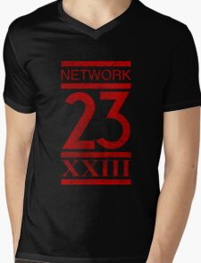 Network 23 Distressed Mens V-Neck T-Shirt