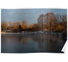 Gray and Amber - an Early Winter Morning on the Lake Shore Poster