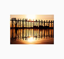 Silhouette of People on Long Wooden Bridge in Mandalay, Burma Unisex T-Shirt