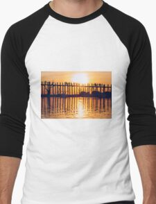 Orange Sundown Behind Long Wooden Bridge in Mandalay, Burma Men's Baseball ¾ T-Shirt