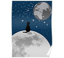 Space Cat Blue Poster