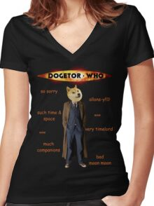 Dogetor Who Women's Fitted V-Neck T-Shirt