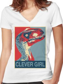 Raptor Propaganda - Clever Girl  Women's Fitted V-Neck T-Shirt