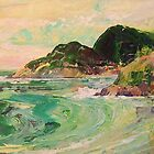 'Coastline #7' - Green hills and surf by Jean  W. Thomas