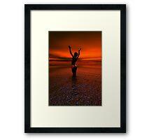 Erotic art hot sex Girl on the beach Framed Print