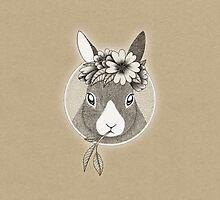 Bunny ink illustration by hheyann