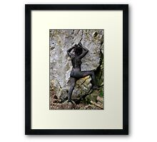 Erotic art hot sex girl on the rock Framed Print
