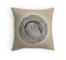 Owl ink illustration Throw Pillow