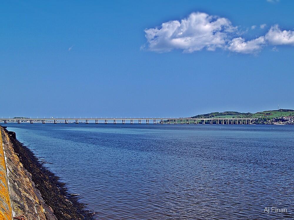 A Distant Tay Bridge In Scotland. by Aj Finan