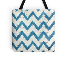 Blue and Cream Grunge Chevron Pattern Tote Bag