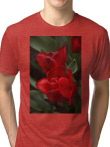 Rainy Spring Garden with Vivid Red Tulips Tri-blend T-Shirt