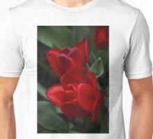 Rainy Spring Garden with Vivid Red Tulips Unisex T-Shirt