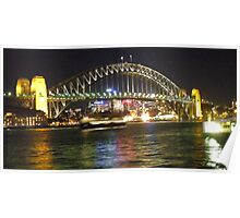 Sydney Harbour bridge at sunset while on a ferry ride Poster
