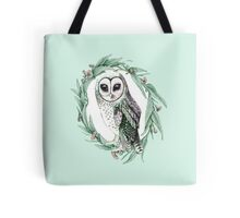 Sooty Owl Wreath on Mint Tote Bag