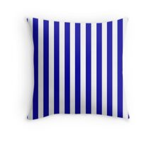 Navy Blue Striped French Bedspread Skirt Throw Pillow