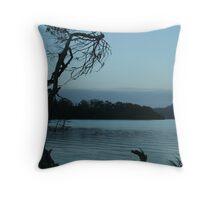 blue dusk on water Throw Pillow