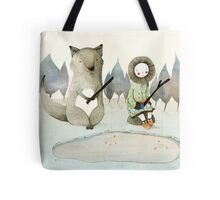 The Little Inuit Girl And The Wolf Tote Bag