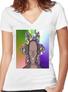 Cartoon Ghoul Women's Fitted V-Neck T-Shirt
