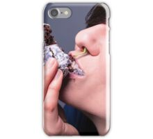 Woman eating food iPhone Case/Skin