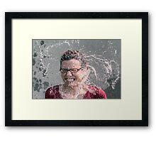Woman face rain Framed Print