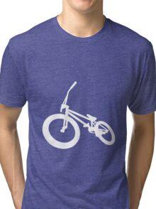 BMX Bike Silhouette White  Tri-blend T-Shirt