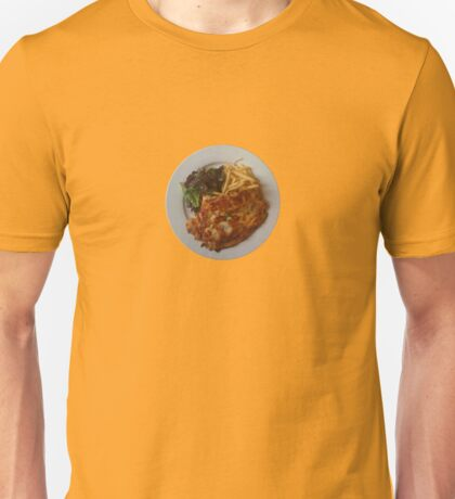 Chicken & pancetta parmagiana crumbed with rosemary & parmesan served with fries Unisex T-Shirt