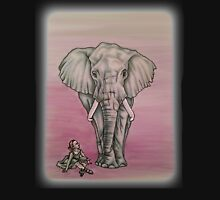 Drawing of Girl with Elephant Pink Background Unisex T-Shirt