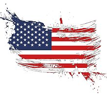 United States of America Flag Brush Splatter by DCornel