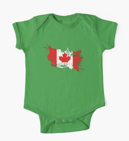 Canada Flag Brush Splatter One Piece - Short Sleeve