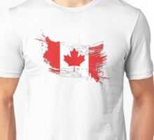Canada Flag Brush Splatter Unisex T-Shirt