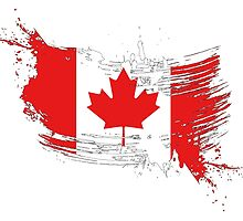 Canada Flag Brush Splatter by DCornel