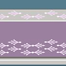 Feathers design in teal, berry, pink and concrete grey by goanna