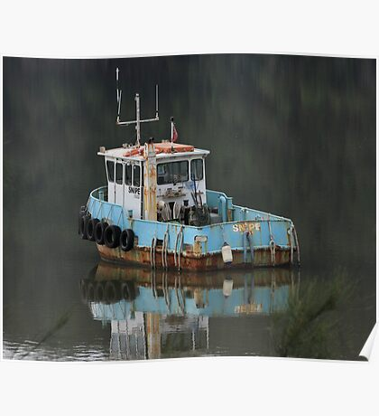 rusty tug boat Poster