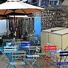 Colourful Beachside Cafe at Lyme Dorset UK by lynn carter