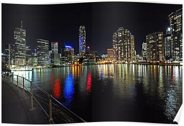 Brisbane City At Night,. Queensland, Australia. by Ralph de Zilva