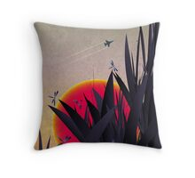 Red Heat (with Dragonflies) Throw Pillow