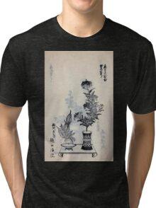 Yenshu ryu ikebana hiak bin no zu shiki konzatsu Flower arrangement in the Enshu style V2 1897 0025 Tri-blend T-Shirt