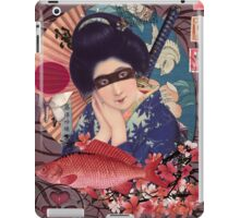 Collage Geisha Samurai in Coral, Indigo and Marsala iPad Case/Skin