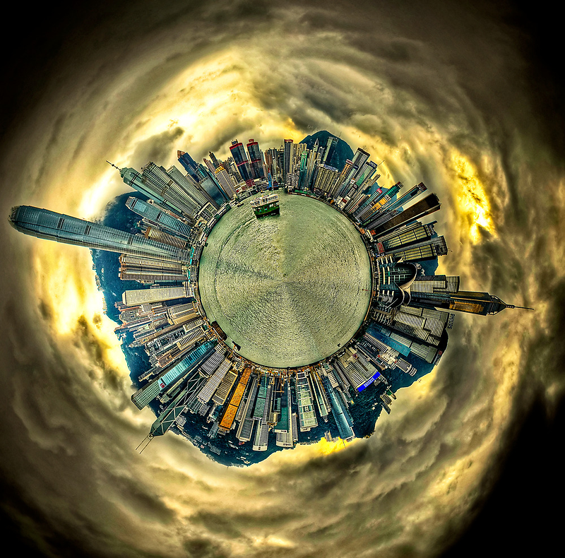 Hong Kong Skyline - Polar Panorama Planet HDR by HKart