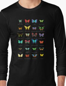 Neon Butterflies in an Old Cardboard Long Sleeve T-Shirt