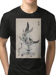 Yenshu ryu ikebana hiak bin no zu shiki konzatsu Flower arrangement in the Enshu style V1 1897 0012 Tri-blend T-Shirt