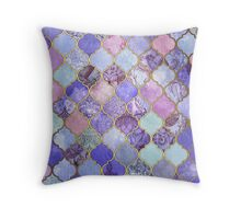 Royal Purple, Mauve & Indigo Decorative Moroccan Tile Pattern Throw Pillow