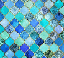 Cobalt Blue, Aqua & Gold Decorative Moroccan Tile Pattern by micklyn