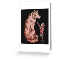 Cartoon Child with Wolf Drawing  Greeting Card