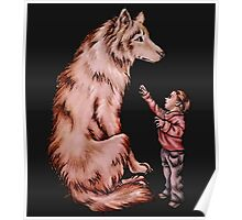 Cartoon Child with Wolf Drawing  Poster