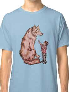 Cartoon Child with Wolf Drawing  Classic T-Shirt